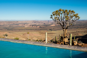 Grandiose Aussicht von der Fish River Lodge auf den Fish River Canyon